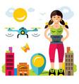 girl quadrocopter flight controls flat vector image