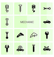 14 mechanic icons vector image vector image