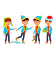 asian boy schoolboy set primary school vector image vector image