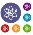atom with electrons icons set vector image vector image