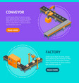 automated factory banner horizontal set 3d vector image vector image
