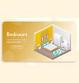banner bedroom interior in isometric vector image