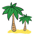 big and small palm trees on sand on white vector image vector image