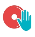 blue human hand and red disco graphic vector image vector image