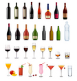 Bottles and glasses set vector | Price: 5 Credits (USD $5)