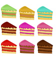 Cartoon Set cake slices vector image vector image