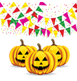Celebrate banner party flags with pumpkins vector image vector image