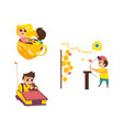 children in amusement park set vector image vector image
