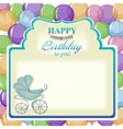 Childrens greeting background with blue stroller vector image vector image