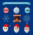 christmas graphic package symbols set vector image