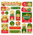 cinco de mayo tag and fiesta party invitation card vector image