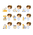 Cleaning Service Girl And Finished Tasks Set Of vector image vector image