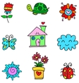 Collection of item spring set doodles vector image vector image