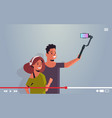 couple holding stabilizer with cellphone man woman vector image vector image