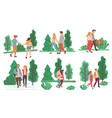 couples on romantic date walking in summer park vector image vector image