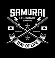 crossed katana samurai swords emblem on black vector image