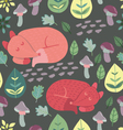 Cute sleepy foxes Seamless pattern vector image vector image