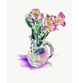 digital watercolor painting flower isolated on vector image