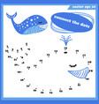 dot to dot funny game for kids with whale vector image vector image