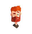 doubting redhead bearded man male emotional face vector image vector image