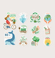 Ecology and recycle sticker set with save