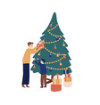 father giving festive gift box to cute little son vector image