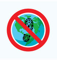 flat icon global carbon footprint stop earth vector image