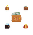 flat icon wallet set of finance payment billfold vector image
