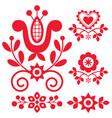 floral folk art design elements vector image vector image