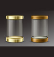 glass cylinder capsule with golden and wooden cap vector image vector image