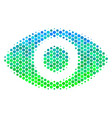 halftone blue-green eye icon vector image