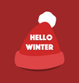 hello winter typographic poster with santa vector image
