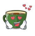 in love indian masala tea in cartoon cup vector image vector image