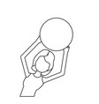 line healthy woman doing exercise with ball vector image vector image