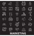 Marketing editable line icons set on black