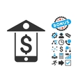 Mobile Bank Flat Icon with Bonus vector image vector image