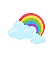 multicolored arched rainbow with blue fluffy vector image