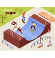 outdoor skate park background vector image