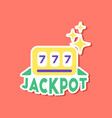 paper sticker on stylish background jackpot lucky vector image