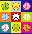 peace sign pop-art style vector image