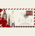 postcard or envelope with big ben in london vector image vector image