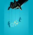 puppet master controlling social media symbol vector image vector image