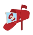 Red mailbox icon with megaphone poster cartoon vector image