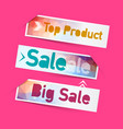 sale top product labels icons vector image vector image