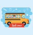 school bus vehicle with students transportation vector image