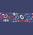 seamless border abstract shapes blue pink orange vector image