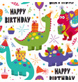 seamless pattern with dinosaurs happy birthday vector image