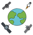 set earth rocket and satellite vector image
