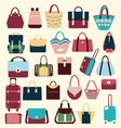 Set icons of bags and handbags vector image vector image