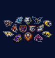 set of animal logos bear dinosaur eagle vector image